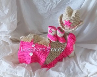 Cowgirl Set - Vest, Skirt, Boots, Hat. (hot pink & tan) photo prop