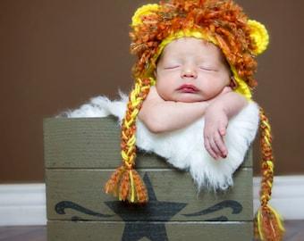 Crocheted little LION hat photography prop