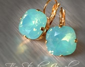 Mint Green Bridesmaid Earrings -Turquoise Pacific Opal - Blue Cushion Cut Stones