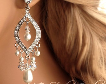 Pearl Chandelier Bridal Earrings - Ivory Pearl Wedding Jewelry