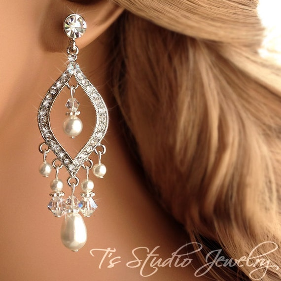 Pearl Chandelier Bridal Earrings Ivory Pearl Wedding Jewelry