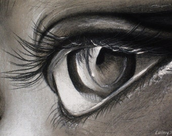 Eye close up Drawing - Matted 8x10 Watercolor Print - Original Artwork, macro, close up, black and white, charcoal eye  - Day 145 Print