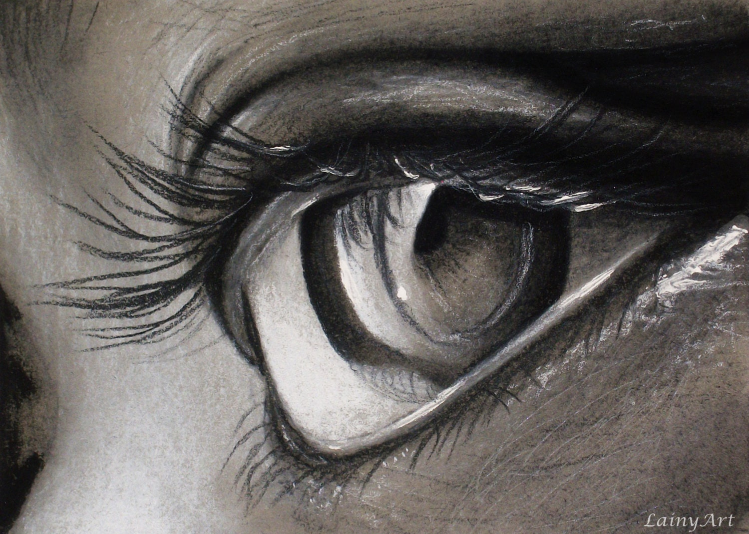 Eye Close Up Drawing Matted 8x10 Watercolor Print Original