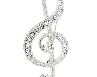 Silver Music Note Pin Brooch 1001103