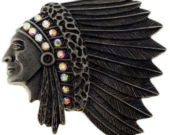 Vintage Style Native American Indian Chief Pin Brooch 1003602