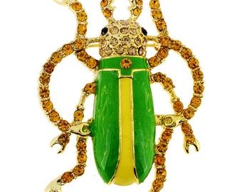 Green Longhorned Beetle Bug Pin Brooch 1002791
