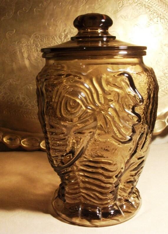 Rare large storage canister libbey elephant dark smokey amber - Vintage elephant cookie jar ...