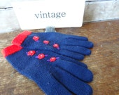 Vintage Gloves  Adorable  Red Flowers  Blue1960s or 70's Retro Pair