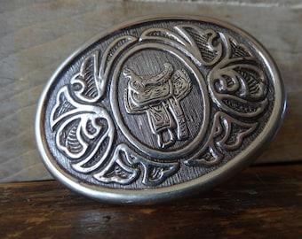Vintage Saddle Silver Belt Buckle