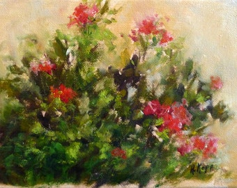 Plein Air Roses painting by Alexandra Kopp 6 x 8 inches