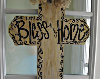 CROSS Bless this home Wood Cut Out Door Hanger