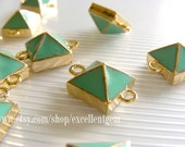 Punk style connector -6pcs Gold tone Pyramid connector beads with Mint color12mm