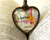 For April Map Jewelry , Colorado Necklace , Loveland Colorado , Map Necklace , Map Pendant , I Love Loveland Colorado , Wedding ,