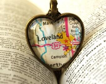 For Susan,l Map Jewelry , Colorado Necklace , Loveland Colorado , Map Necklace , Map Pendant , I Love Loveland Colorado , Wedding ,