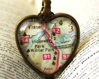 Map Jewelry , Colorado Necklace, Winter Park Colorado Map Necklace, Map Pendant , Colorado, I Love Winter Park Colorado, State Jewelry