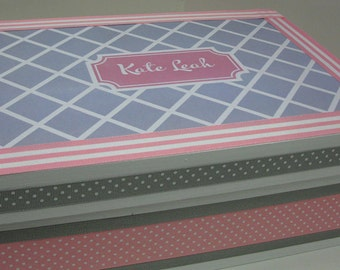 Girl's Personalized Keepsake Box- Pink and Gray-2