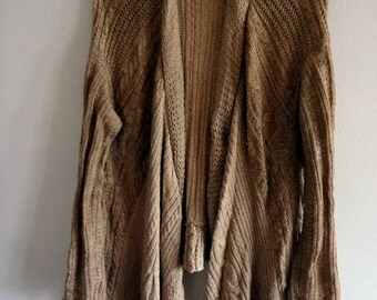 Hi-Lo Camel Cable Knit Sweater