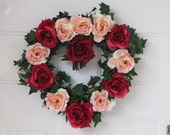 Heart Shaped Wreath with Red & Pink Roses