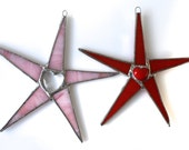 Heart Star 6 inch stained glass star in red or pink