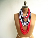 T Shirt Necklace // Red White Navy Blue // Women // Long // Cotton // Soft // Recycled // Upcycled // Fun // Patriotic // ohzie