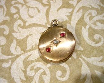 Antique Gold Filled Round Locket w Paste stones
