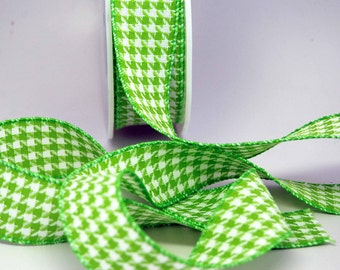 Houndstooth Woven Ribbon -- 1.5 inches -- Electric Lime White
