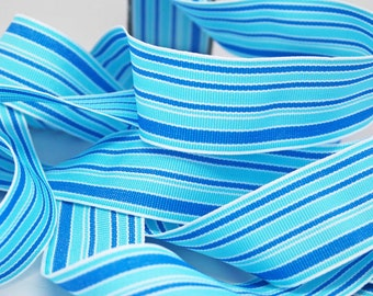 SALE Striped Grosgrain Ribbon -- 1.5 inches -- Sea of Blues Stripe