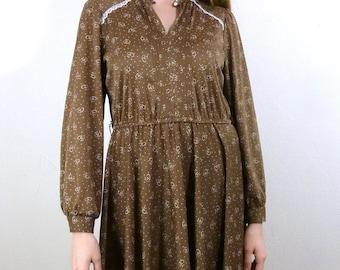 Vintage Light Brown Dress / Brown Floral Dress / Floral Day Dress / Lace Collar Dress M