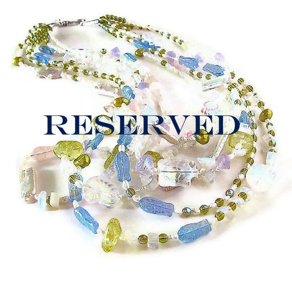 "RESERVED ""Octopus's Garden"" multi strand under sea necklace and earring set custom made for R."