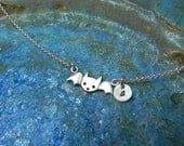 Halloween Custom made cute bat with hand stamped sterling silver  necklace personalized with initial - Halloween jewelry