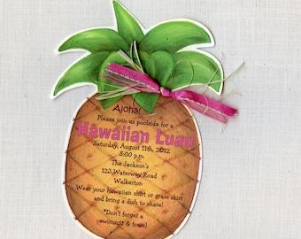 Personalized and Handcut Invitations - Birthday Party Invitations - Pineapple Birthday Party - Hawaiian Luau - Set of 25