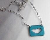 Blue enamel bird necklace Enamel jewelry Bluebird necklace Nature jewelry Bird pendant