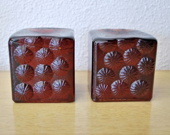 SALE Pair of Blenko Red Glass Block Intaglio Pinwheel Bookends