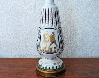 SALE Mid Century Greek Glass Cut Lamp