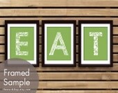 EAT (Kitchen Fork Knife Spoon)  Set of 3 - Art Print (Featured in Grass Green) Customizable colors
