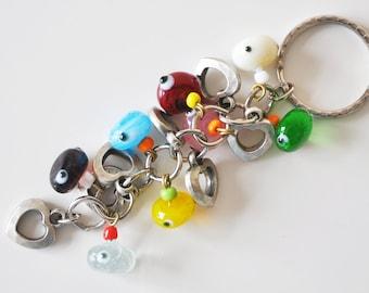 Heart Key Chain Handmade Colorful Evil Eye Silver Plated
