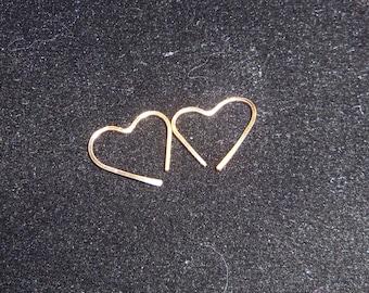14 KGold Fill Cartilage Earrings, Heart Earrings,14MM Cartilage, 21 gauge Square Wire