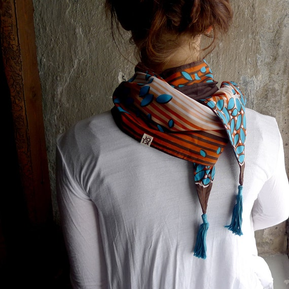 Tassel Scarf, Neck Scarf, Spring Scarf, Fashion Accessories, Striped Scarf - Brown Turquoise Leaf Vintage Retro Fabric, Jersey