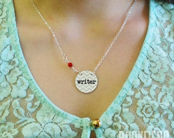 writer enamel necklace, choose Swarovski accent