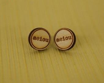 aeiou wooden post earrings