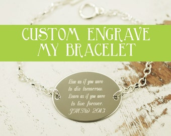 custom engraved oval bracelet