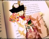 1pc - Origami Japanese Geisha Bookmark Burgundy Pink White crane bird Kimono