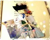 1pc - Origami Japanese Geisha Bookmark Blue mix  Floral Kimono