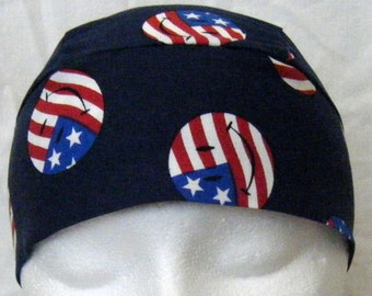 Blue Skull Cap with Red,White and Blue Smiley Faces, Chemo Cap,Hats, Biker, Men, Women, Vets, Military, Do Rag, Head Wrap, Hair Loss, Bald