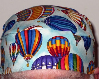 Light Blue Skull Cap w Large Hot Air Balloons/ Chemo Cap/ Hats/ Head Wrap/ Do Rag/Biker/ Flying/ Kid/Surgical Cap/ Handmade/ Alopecia