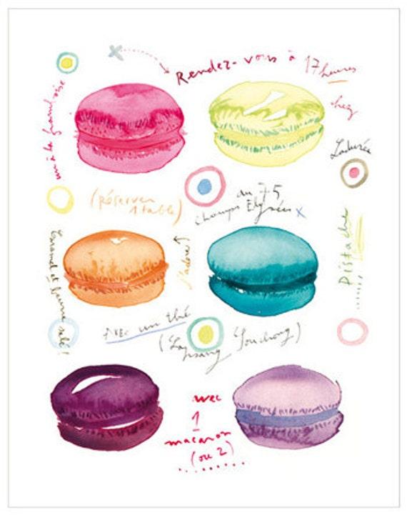 Watercolor macaron poster, Kitchen decor, Macaroon print, 5X7 french macaron painting, food art