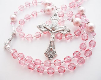 Personalized Rosary - Sparkly Pink Baptism or First Communion Catholic Rosary for a Girl