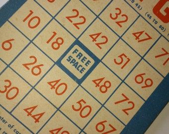 Handmade journal / sketchbook / album - vintage bingo cards - blue thread