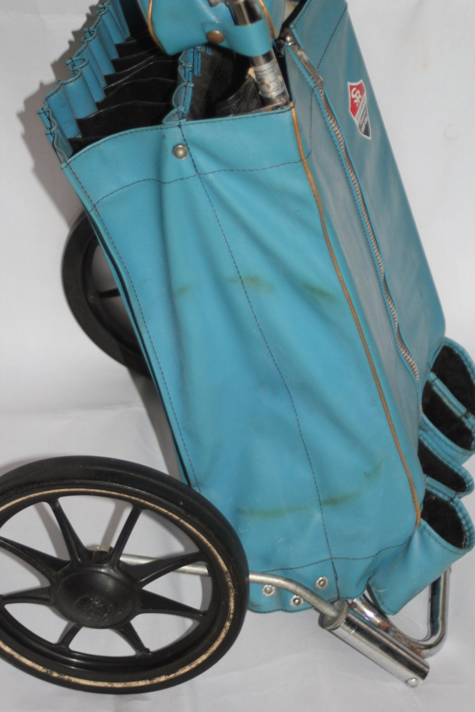 vintage golf bag pull cart turquoise