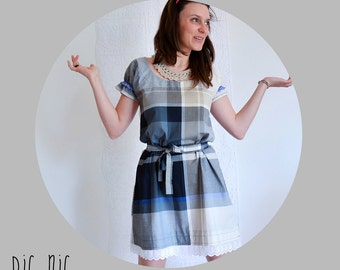 PARTY SALE - Womens gingham pic nic cotton dress with ruffle sleeve